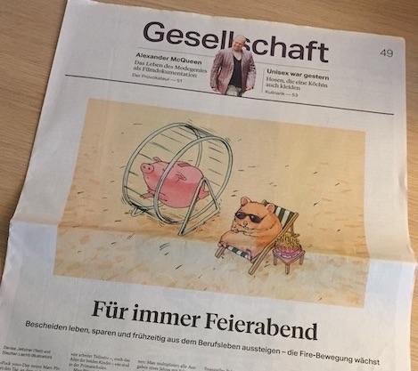 Photo of the article of Mustachian Post in the newspaper Tages Anzeiger SonntagsZeitung